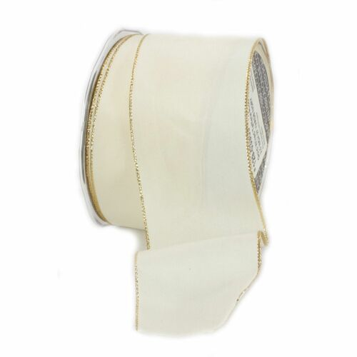 "Ivory and Gold Solid Wired Craft Ribbon 2.5"" x 27 Yards - IMAGE 1"