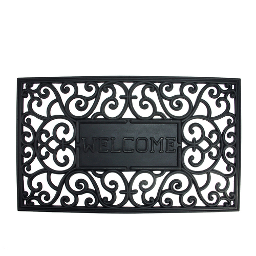 "Black Scroll ""Welcome"" Coir Rectangular Door Mat 29.5"" x 17.75"" - IMAGE 1"