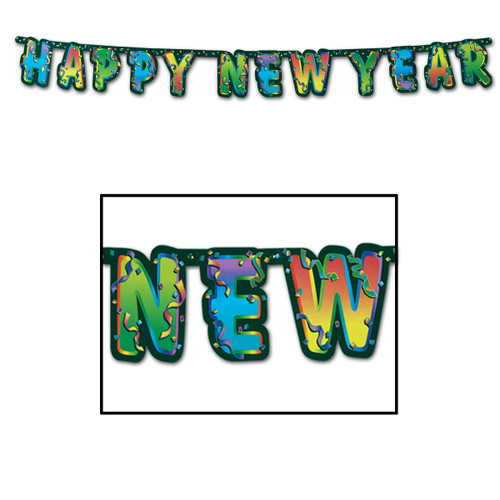 Club Pack of 12 Confetti Happy New Year Streamer Party Decoration 6' - IMAGE 1
