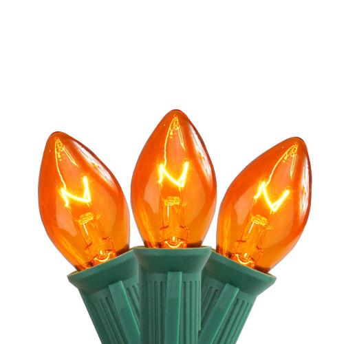 25-Count Transparent Orange C7 Christmas Lights, 24ft Green Wire - IMAGE 1