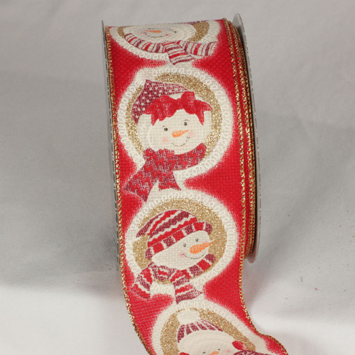 """Red and Gold Christmas Snowman Portrait Wired Craft Ribbon 2.5"""" x 20 Yards - IMAGE 1"""