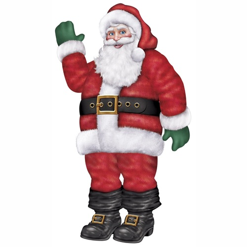 Club Pack of 12 Jointed Waving Santa Claus Christmas Decorations 5.5' - IMAGE 1