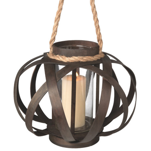 "14"" Large Brown Open Weave Pillar Candle Lantern with Tan Rope Handle - IMAGE 1"