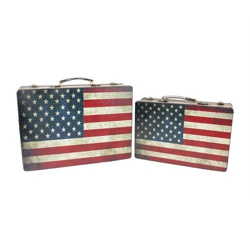 "Set of 2 Rustic American Flag Rectangular Wooden Decorative Storage Boxes 14.5-17"" - IMAGE 1"