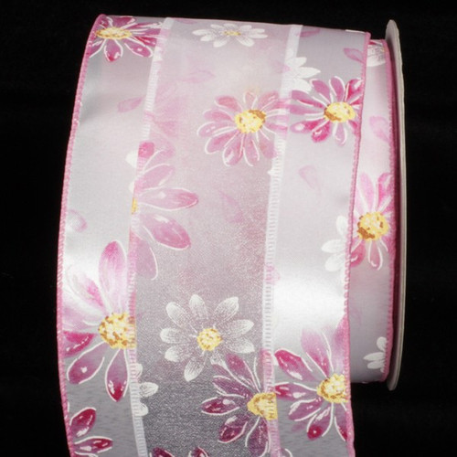 """Pink and White Embossed Flowers Wired Craft Ribbon 4"""" x 20 Yards - IMAGE 1"""