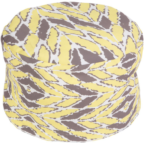 """20"""" Yellow Buff and Gray Wrapped Leaves Round Outdoor Patio Pouf Ottoman - IMAGE 1"""