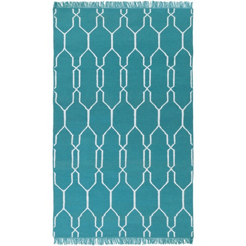 3.5' x 5.5' Moroccan Turquoise Blue and White Hand Woven Area Throw Rug - IMAGE 1