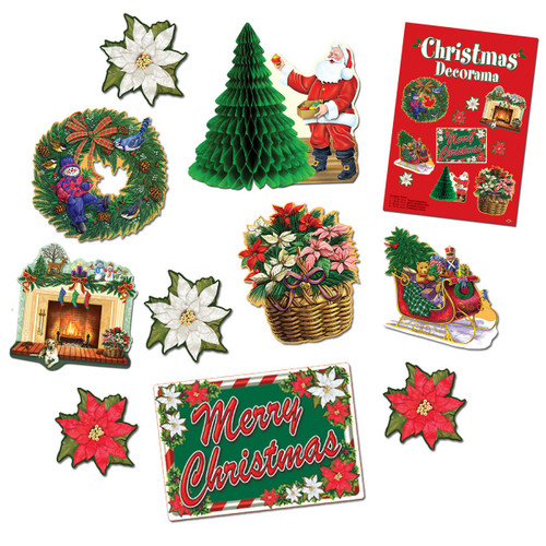 Club Pack of 60 Santa Claus, Wreath, Tree and Fireplace Christmas Decorama Cutout Decorations - IMAGE 1