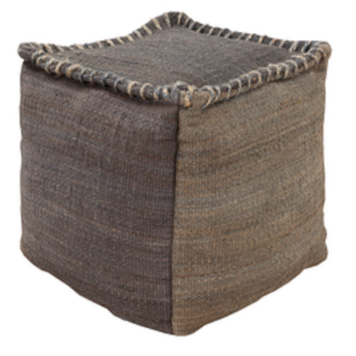 """18"""" Charcoal Gray and Cloud Gray Stitched Top Jute Square Pouf Ottoman - IMAGE 1"""