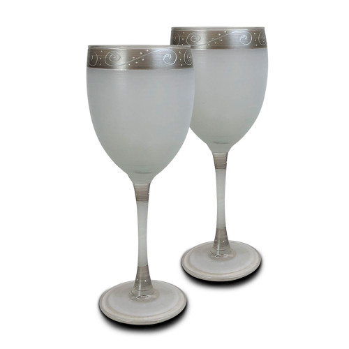 "Set of 2 Silver Swirls and Dots Hand Painted Wine Drinking Glasses Glasses 8"" - IMAGE 1"