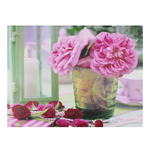 """Pink and Green Flower Candle LED Lighted Flickering Canvas Wall Art 11.75"""" x 15.75"""" - IMAGE 1"""