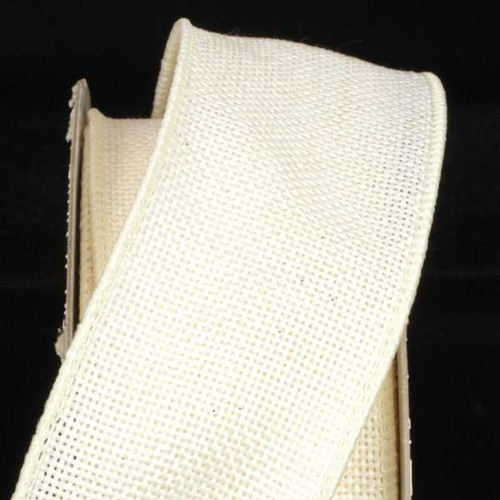 "Ivory Fine Burlap Wired Craft Ribbon 2"" x 40 Yards - IMAGE 1"