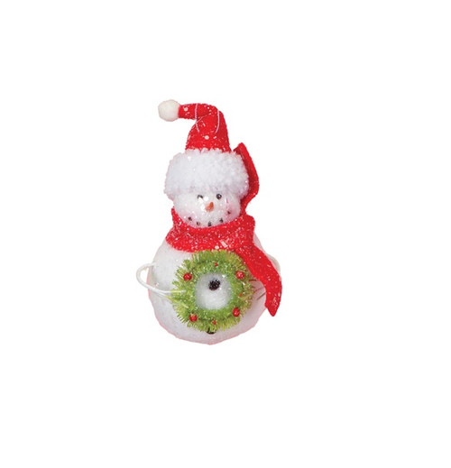 """7"""" Cupcake Heaven Snowman with Wreath and Red Scarf Christmas Ornament - IMAGE 1"""