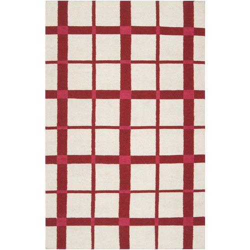 5' x 8' Red and Beige Plaid Pattern Wool Area Throw Rug - IMAGE 1