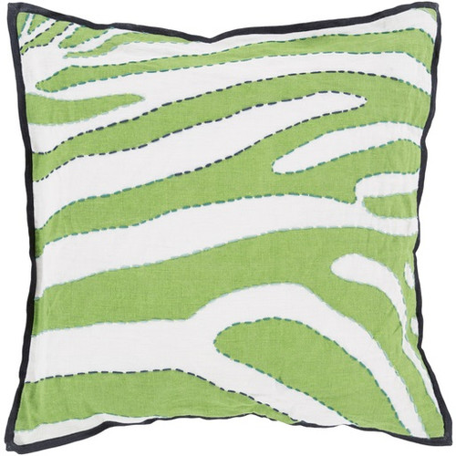 """20"""" Lime Green and Blue Zebra Print Square Throw Pillow - IMAGE 1"""