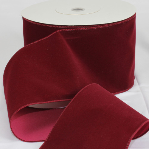 "Versatile Velvet Burgundy Red Wired Craft Ribbon 5"" x 50 Yards - IMAGE 1"