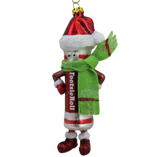 """6"""" Red and Green Tootsie Roll Chewy Chocolate Candy Glass Christmas Ornament - IMAGE 1"""