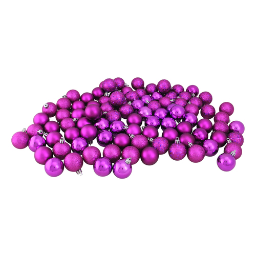 "96ct Purple Shatterproof 4-Finish Christmas Ball Ornaments 1.5"" (35mm) - IMAGE 1"