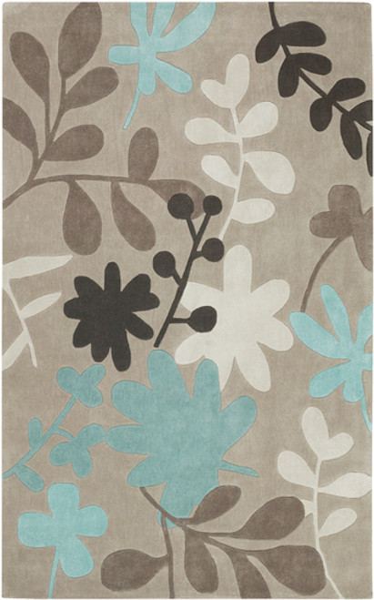 5' x 8' Florecer Brown, Tan and Sea Blue Hand Tufted Polyester Area Throw Rug - IMAGE 1