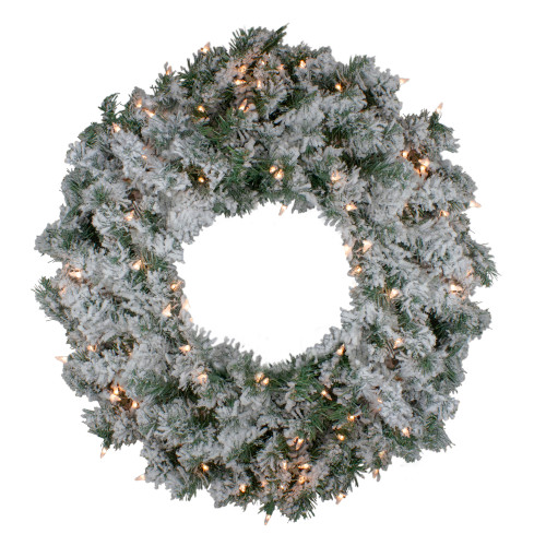 Pre-Lit Flocked Victoria Pine Artificial Christmas Wreath - 30-Inch, Clear Lights - IMAGE 1