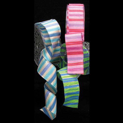 "Blue and Purple Fun Striped Wired Craft Ribbon 1.5"" x 27 Yards - IMAGE 1"
