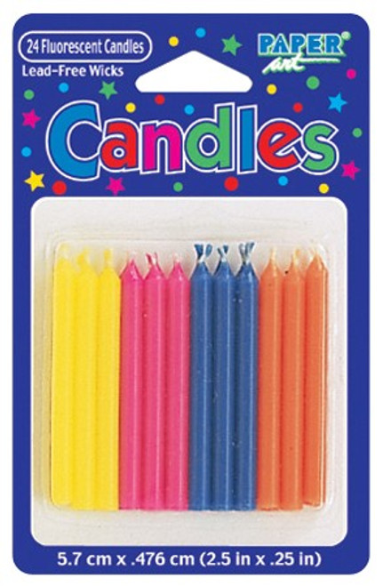 "Club Pack of 288 Yellow and Blue Fluorescent Party Candles 2.5"" - IMAGE 1"