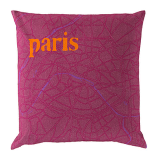 """22"""" Purple and Orange Contemporary Square Throw Pillow - Down Filler - IMAGE 1"""