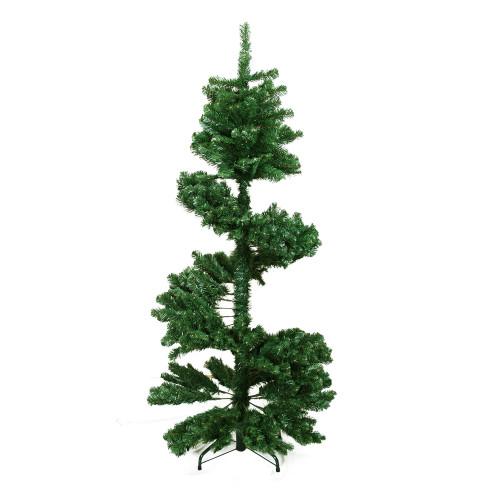 7' Green Slim Spiral Pine Artificial Christmas Tree - Unlit - IMAGE 1
