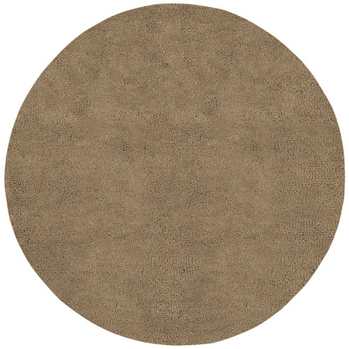 8' Solid Brown Hand Woven Round Wool Area Throw Rug - IMAGE 1