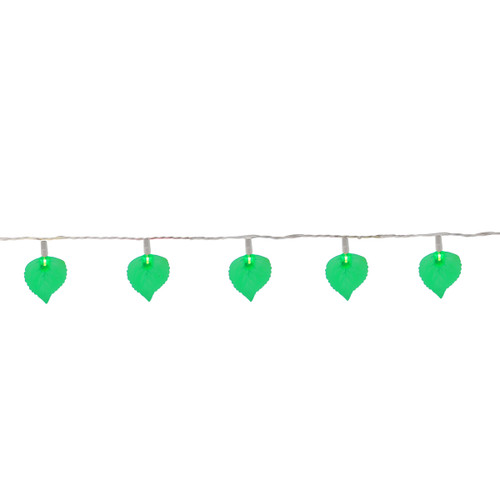 10-Count Green Leaf Patio Novelty Christmas Light Set, 6ft White Wire - IMAGE 1