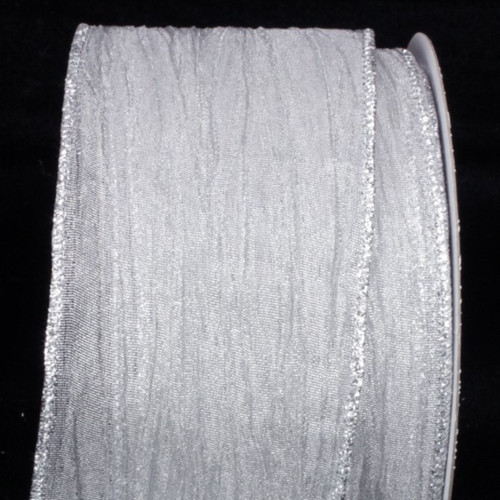 "Metallic Silver Sheer Isadora Wired Edge Craft Ribbon 3"" x 20 Yards - IMAGE 1"