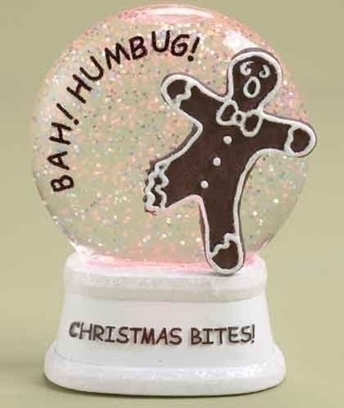 """4.5"""" LED Lighted Color Changing Christmas Bites! Gingerbread Glitterdome - IMAGE 1"""