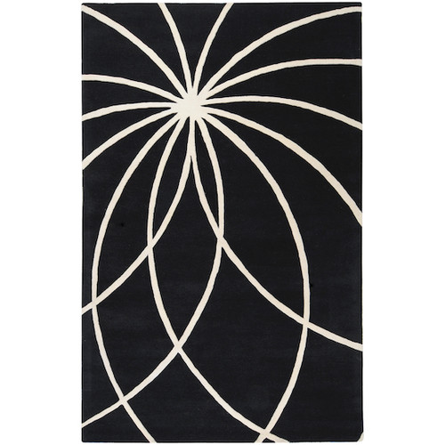 7.5' x 9.5' Black and White Contemporary Hand Tufted Rectangular Wool Area Throw Rug - IMAGE 1