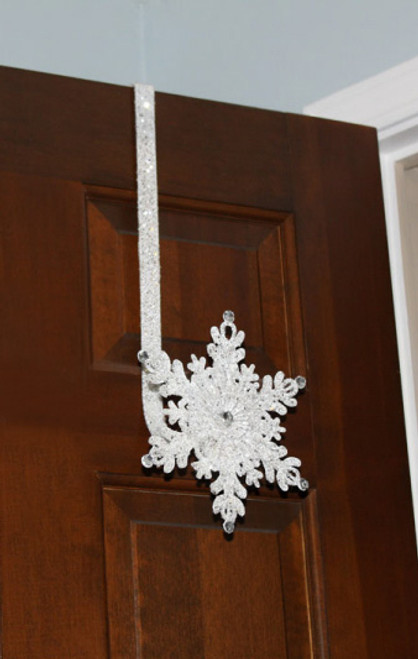 """17"""" Sparkling White Glittering Jeweled Snowflake Over-the-Door Christmas Wreath Hanger - IMAGE 1"""
