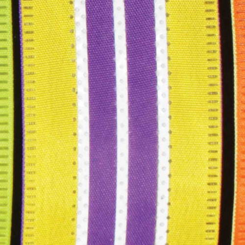 """Yellow and Purple Wired Craft Ribbon with Stripes 1.5"""" x 40 Yards - IMAGE 1"""