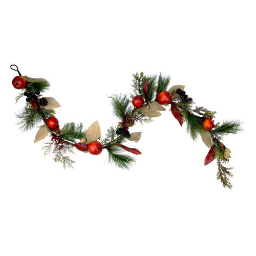 "6' x 10"" Red Mixed Berry and Pine Artificial Garland - Unlit - IMAGE 1"