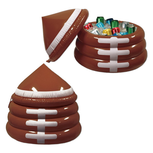 """26"""" Inflatable Brown Football Game Day Party Drink Cooler with Lid - IMAGE 1"""