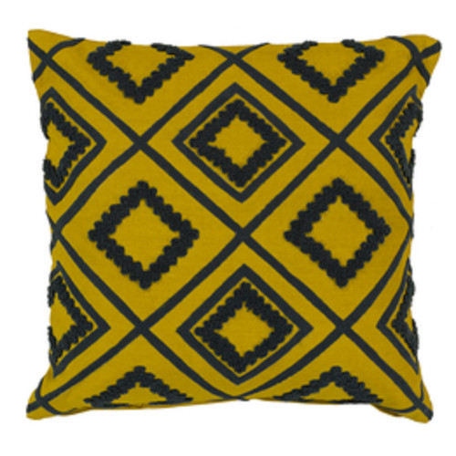 """18""""Gray and Yellow Cotton Square Throw Pillow - Down Filler - IMAGE 1"""