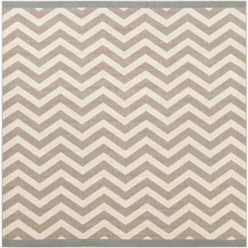 8.75' x 8.75' Beige and White Machine Woven Square Outdoor Area Throw Rug - IMAGE 1