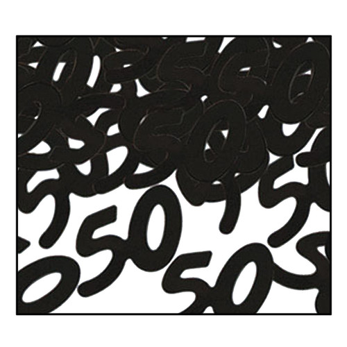 "Club Pack of 12 Black Fanci-Fetti ""50"" Celebration Confetti Bags 0.5 oz. - IMAGE 1"