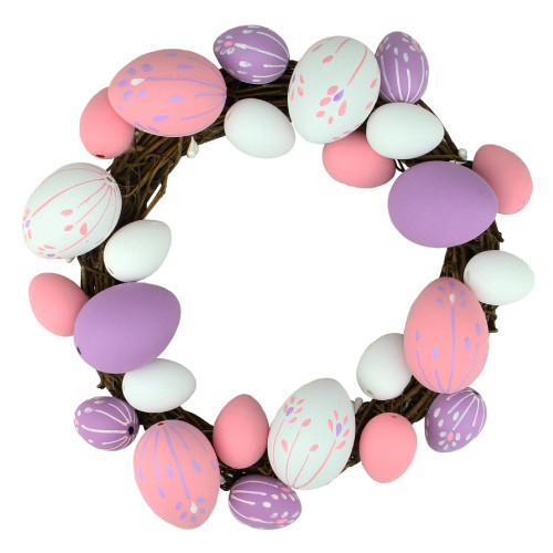 """10"""" Pink and White Floral Stem Easter Egg Spring Grapevine Wreath - IMAGE 1"""