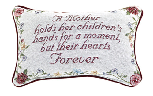 "12.5"" White and Red Mother's Love Floral Rectangular Throw Pillow - IMAGE 1"