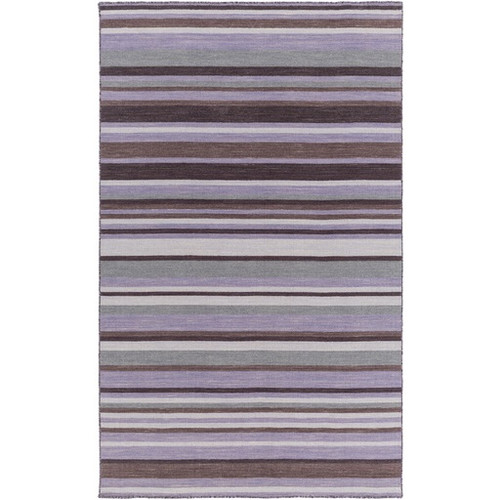 5' x 8' Purple and Gray Contemporary Hand Woven Striped Rectangular Wool Area Throw Rug - IMAGE 1