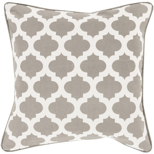 """20"""" Gray and Ivory Mesmerizing Morrocan Decorative Throw Pillow - Down Filler - IMAGE 1"""