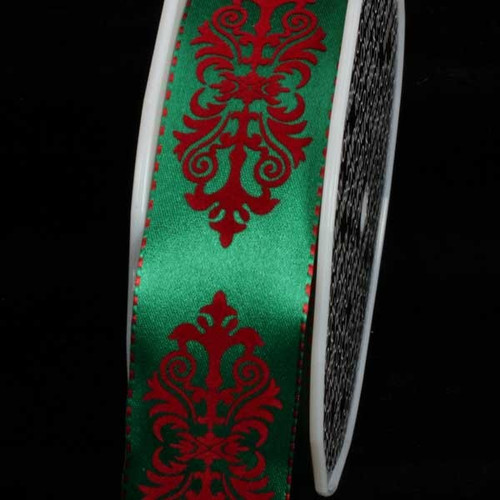 """Green and Red Royal Wired Craft Ribbon 1.5"""" x 27 Yards - IMAGE 1"""