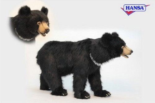 """41"""" Black and Beige Hand Crafted Realistic Stuffed Bear Stool - IMAGE 1"""