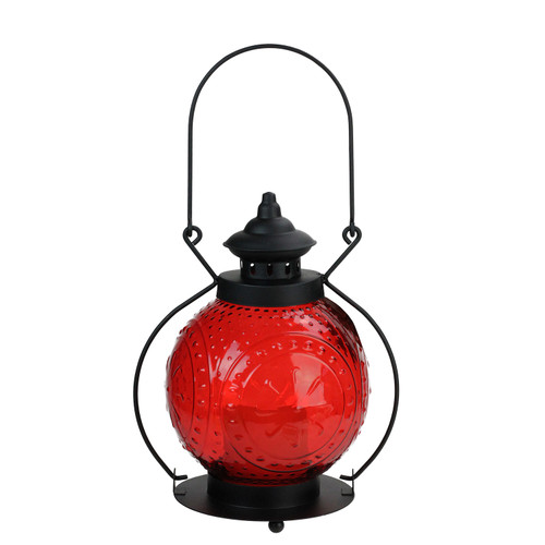 """11"""" Red Molded Glass Lantern with Flameless LED Pillar Timer Candle - IMAGE 1"""