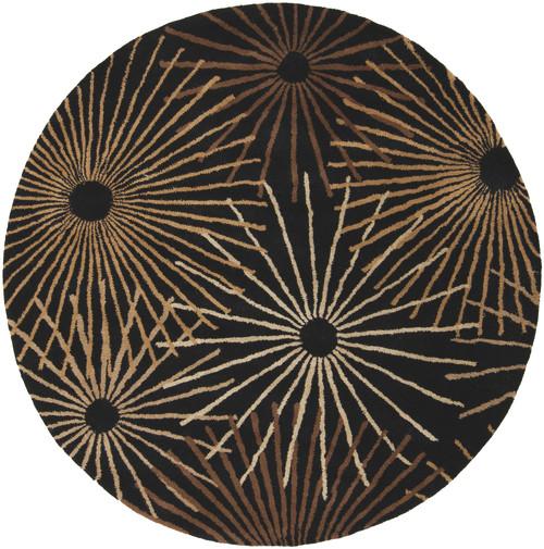 9.75' Black and Brown Sunburst Hand Tufted Round Area Throw Rug - IMAGE 1