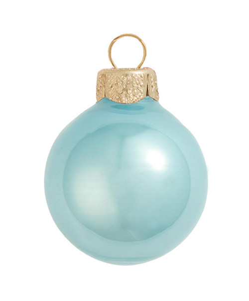"""2ct Baby Blue Pearl Glass Christmas Ball Ornaments 6"""" (150mm) - IMAGE 1"""