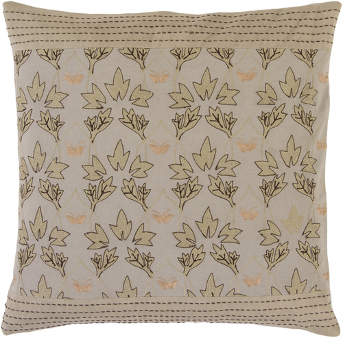 "18"" Ivory and Black Contemporary Square Throw Pillow - Down Filler - IMAGE 1"